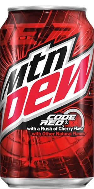 MOUNTAIN DEW CODE RED 12oz CAN. VENDING MACHINE SIGN. Plastic, in like new condition.