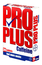 How many mg of caffeine in pro plus