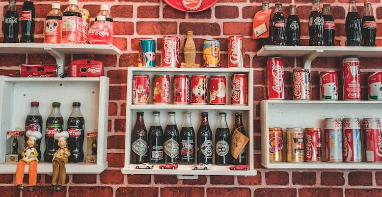 Wall of old soft drinks