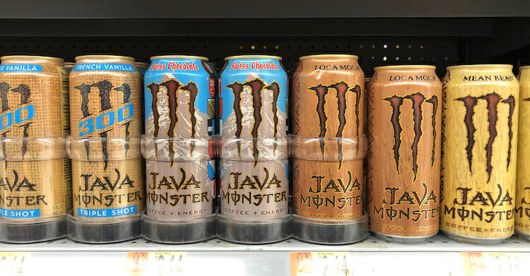 Shelf of Java Monster cans